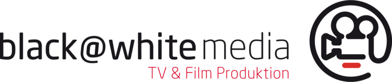 black@white media - TV & Film Produktion, Logo Schriftzug in schwarz und rot